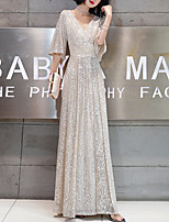 cheap -A-Line Sparkle Elegant Wedding Guest Formal Evening Dress V Neck Half Sleeve Floor Length Sequined with Sequin 2021