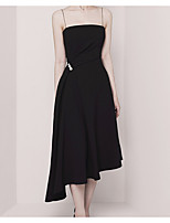 cheap -A-Line Empire Minimalist Wedding Guest Cocktail Party Dress Spaghetti Strap Sleeveless Asymmetrical Stretch Fabric with Pearls Draping 2021