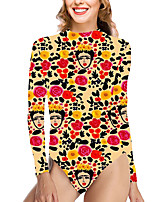 cheap -Women's New Vacation Cute One Piece Swimsuit Color Block Floral Tummy Control Print Bodysuit Normal High Neck Swimwear Bathing Suits Yellow / Party