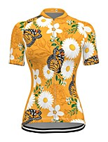 cheap -21Grams Women's Short Sleeve Cycling Jersey Spandex Yellow Butterfly Floral Botanical Bike Top Mountain Bike MTB Road Bike Cycling Breathable Sports Clothing Apparel / Stretchy / Athleisure
