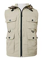 cheap -Men's Hiking Vest / Gilet Fishing Vest Military Tactical Vest Sleeveless V Neck Vest / Gilet Jacket Top Outdoor Quick Dry Lightweight Breathable Detachable Cap Autumn / Fall Spring Summer Nylon Solid
