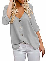 cheap -women's v-neck shirt fashion 3/4 sleeve button loose solid color t-shirt top summer casual buttoned shirt top meeya gray
