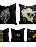 cheap -5 pcs Linen Pillow Cover, 3D Square Zipper Polyester Traditional Classic