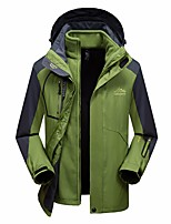 cheap -Men's Hiking 3-in-1 Jackets Waterproof Hiking Jacket Hiking Fleece Jacket Autumn / Fall Winter Spring Outdoor Patchwork Waterproof Windproof Detachable Fleece Quick Dry Hoodie Winter Jacket Top Ski