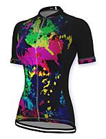 cheap -21Grams Women's Short Sleeve Cycling Jersey Spandex Black Graffiti Bike Top Mountain Bike MTB Road Bike Cycling Breathable Sports Clothing Apparel / Stretchy / Athleisure
