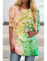 cheap -Women's T Shirt Dress Tee Dress Short Mini Dress Green Rainbow Half Sleeve Floral Color Block Print Spring Summer Round Neck Casual 2021 S M L XL XXL 3XL