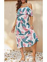 cheap -Women's Shift Dress Midi Dress Blue Half Sleeve Floral Print Summer Square Neck Casual 3D Print S M L XL