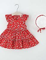 cheap -Kids Little Girls' Dress Flower Print Red Khaki Knee-length Sleeveless Regular Dresses Summer Loose 2-6 Years