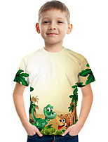 cheap -Kids Boys' Tee Short Sleeve Dinosaur Graphic Children Tops Active Yellow