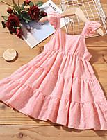 cheap -Kids Toddler Little Girls' Dress Solid Colored Sundress Blushing Pink Knee-length Short Sleeve Active Dresses Summer Regular Fit 2-8 Years