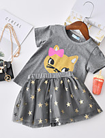 cheap -Kids Toddler Little Girls' Dress Cat Solid Colored Animal Causal Layered Pleated Lace Gray Above Knee Short Sleeve Regular Basic Cute Dresses Children's Day Summer Regular Fit 3-8 Years