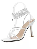 cheap -Women's Sandals High Heel Square Toe PU Solid Colored White Black