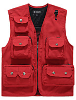 cheap -Men's Hiking Vest / Gilet Fishing Vest Military Tactical Vest Sleeveless V Neck Vest / Gilet Jacket Top Outdoor Quick Dry Lightweight Breathable Sweat wicking Autumn / Fall Spring Summer Nylon Solid