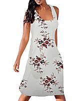 cheap -Women's A Line Dress Knee Length Dress White Black Sleeveless Print Color Block Patchwork Print Summer V Neck Casual 2021 S M L XL XXL