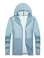 cheap -Men's Hoodie Jacket Hiking Skin Jacket Hiking Windbreaker Summer Outdoor Packable UV Sun Protection Quick Dry Lightweight Outerwear Jacket Top Fishing Running Beach White Grey Light Grey Light Blue