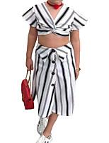 cheap -Kids Little Girls' Dress Striped Print White Midi Short Sleeve Basic Dresses Regular Fit