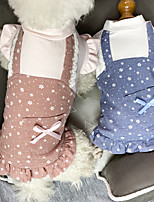 cheap -Dog Cat Dress Bowknot Basic Elegant Sweet Dailywear Casual / Daily Dog Clothes Puppy Clothes Dog Outfits Breathable Red Blue Costume for Girl and Boy Dog Cotton XS S M L XL XXL