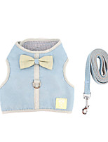 cheap -Dog Cat Harness Training Leash Harness Leash Set Adjustable Escape Proof Outdoor Walking Bowknot Nylon Small Dog Blue Pink Gray Coffee