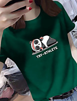 cheap -Women's Tee / T-shirt Pure Color Crew Neck Spandex Panda Sport Athleisure Top Short Sleeves Breathable Soft Comfortable Everyday Use Casual Daily Outdoor