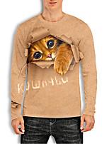 cheap -Men's Tees T shirt 3D Print Cat Graphic Prints Animal Print Long Sleeve Daily Tops Basic Casual Khaki