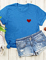 cheap -Women's T shirt Graphic Heart Print Round Neck Tops Basic Basic Top Black Blue Blushing Pink