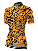 cheap -21Grams Women's Short Sleeve Cycling Jersey Spandex Yellow Leopard Bike Top Mountain Bike MTB Road Bike Cycling Breathable Sports Clothing Apparel / Stretchy / Athleisure