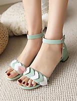 cheap -Women's Sandals Cuban Heel Open Toe Microfiber Rhinestone Buckle Color Block White Pink Green