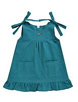 cheap -Kids Little Girls' Dress Solid Colored Print Green Knee-length Long Sleeve Active Dresses Summer Regular Fit 2-6 Years