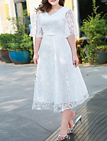 cheap -A-Line Plus Size Elegant Homecoming Cocktail Party Dress V Neck Half Sleeve Tea Length Lace with Bow(s) Embroidery 2021