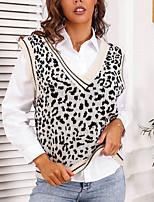 cheap -Women's Stylish Knitted Leopard Vest Sleeveless Sweater Cardigans V Neck Summer White Black Khaki