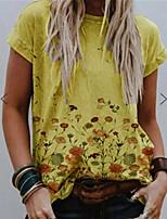 cheap -Women's T shirt Graphic Floral Print Round Neck Tops Basic Basic Top Blue Yellow Khaki
