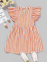 cheap -Kids Toddler Little Girls' Dress Striped Print Red Knee-length Sleeveless Active Dresses Summer Regular Fit 2-8 Years