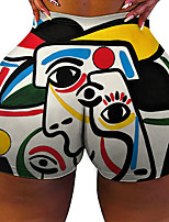 cheap -Women's Colorful Fashion Comfort Holiday Beach Leggings Pants Geometric Pattern Color Block Graphic Prints Short Sporty Elastic Waist Print White