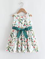 cheap -Kids Little Girls' Dress Floral Graphic Bow Print Green Sleeveless Basic Cute Dresses Regular Fit