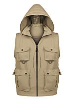 cheap -Men's Hiking Vest / Gilet Fishing Vest Military Tactical Vest Sleeveless V Neck Vest / Gilet Jacket Top Outdoor Quick Dry Lightweight Breathable Detachable Cap Autumn / Fall Spring Summer Polyester