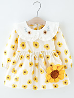 cheap -Toddler Little Girls' Dress Daisy Flower Print Yellow Knee-length Long Sleeve Regular Dresses Spring &  Fall Loose 2-6 Years