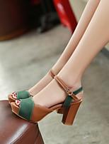 cheap -Women's Sandals Chunky Heel Peep Toe PU Synthetics Green Beige