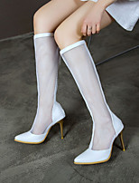 cheap -Women's Boots Pumps Pointed Toe Knee High Boots Microfiber Color Block White Gold Silver