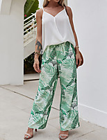 cheap -Women's Active Streetwear Print Color Block Floral Daily Holiday Two Piece Set Blouse Pant Print Tops