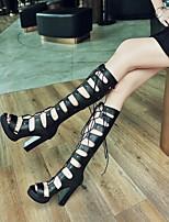 cheap -Women's Boots High Heel Peep Toe PU Synthetics White Black