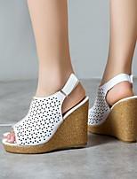 cheap -Women's Sandals Wedge Heel Peep Toe PU Synthetics White Black Yellow