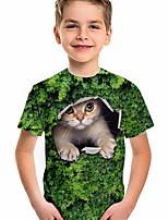 cheap -Kids Boys' T shirt Short Sleeve Cat Animal Daily Wear Print Children Summer Tops Active Regular Fit Green 4-12 Years