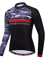 cheap -Men's Long Sleeve Cycling Jersey Black / Silver Bike Jersey Sports Clothing Apparel / Micro-elastic / Athleisure