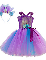 cheap -Kids Little Girls' Dress Mermaid Tail Flower Birthday Party Festival Layered Mesh Purple Knee-length Sleeveless Regular Sweet Dresses Children's Day Fall Spring & Summer Slim 2-12 Years