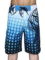 cheap -Men's Swim Shorts Swim Trunks Board Shorts Breathable Quick Dry Drawstring - Swimming Surfing Water Sports Grid Pattern Summer
