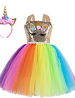 cheap -Kids Little Girls' Dress Flower Animal Birthday Party Festival Layered Mesh Gold Knee-length Sleeveless Regular Sweet Dresses Children's Day Fall Spring & Summer Slim 2-12 Years
