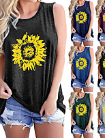 cheap -Women's Tank Top Tee / T-shirt Pure Color Crew Neck Cotton Sunflower Sport Athleisure Top Sleeveless Breathable Soft Comfortable Everyday Use Street Casual Daily Outdoor