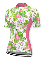 cheap -21Grams Women's Short Sleeve Cycling Jersey Spandex Pink Flamingo Floral Botanical Bike Top Mountain Bike MTB Road Bike Cycling Breathable Sports Clothing Apparel / Stretchy / Athleisure