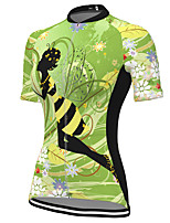 cheap -21Grams Women's Short Sleeve Cycling Jersey Spandex Green Floral Botanical Bike Top Mountain Bike MTB Road Bike Cycling Breathable Sports Clothing Apparel / Stretchy / Athleisure