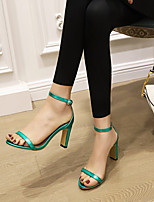 cheap -Women's Sandals Pumps Open Toe Microfiber Buckle Solid Colored Pink Gold Green